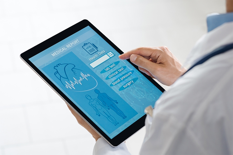 Medical data on a tablet screen