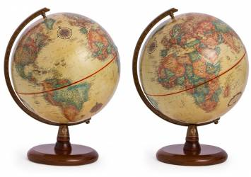 Antique Globes showing the Americas Europe and Africa